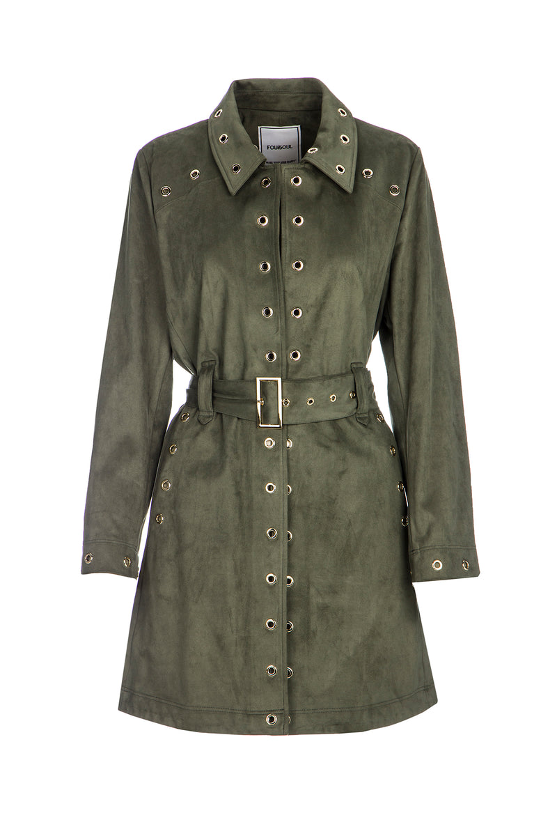 SUEDE COAT WITH EYELETS