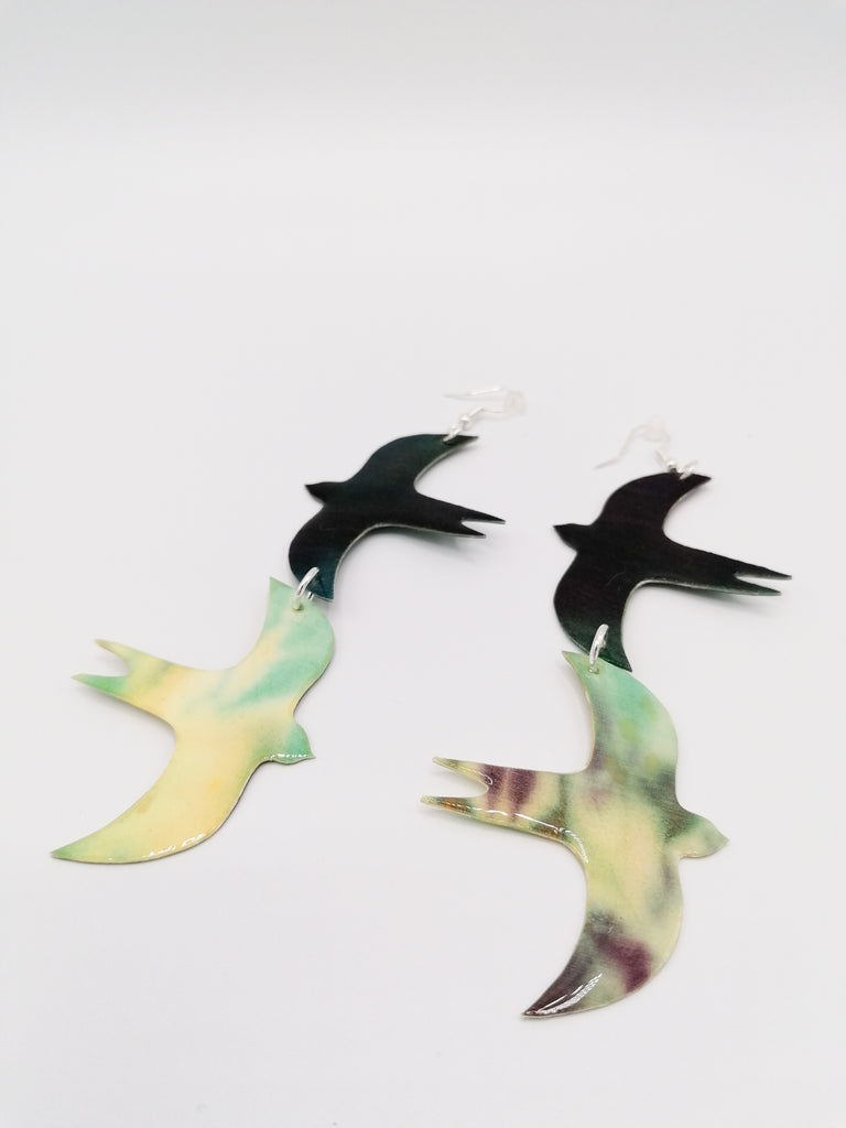 Rothlu Two-Bird Silk Earrings
