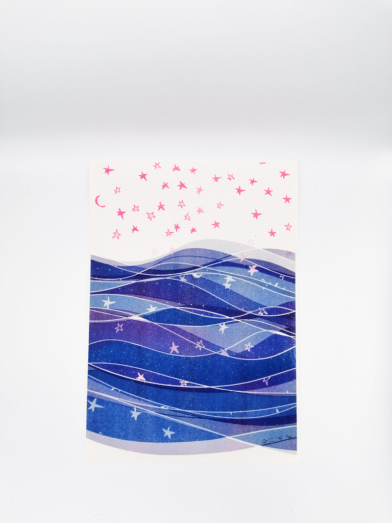 Sea & Stars Risograph Print - Badly Made Books