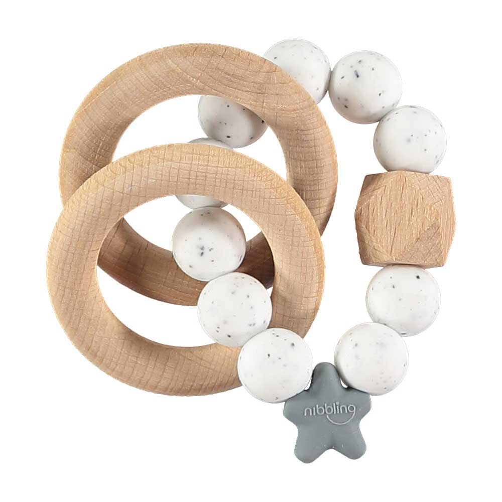 Nibbling Stellar Natural Wood Teething Toy – Speckled