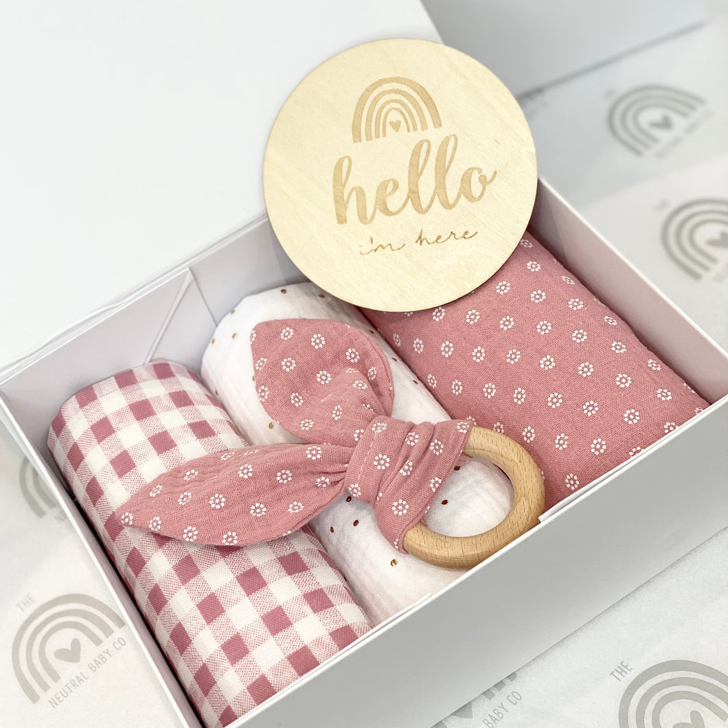 Pink Hello I'm Here Gift Box