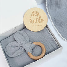 Load image into Gallery viewer, Grey Pom Pom Swaddle Gift Box