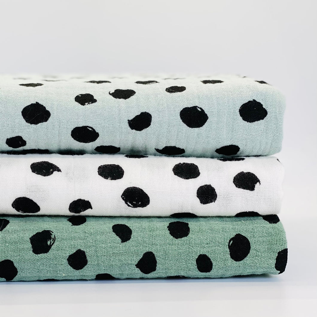 Mint and Black Dot set of 3 Muslins