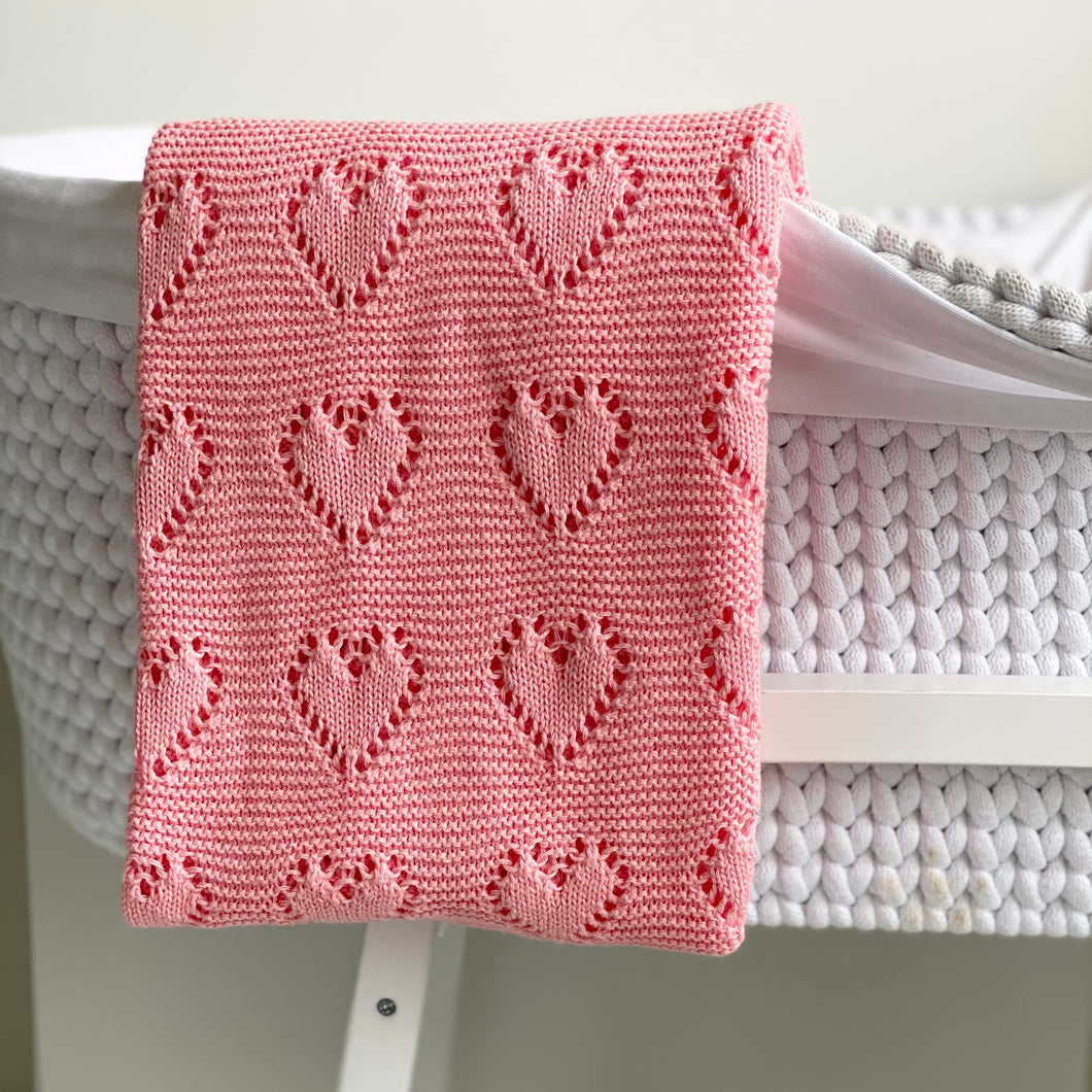 Pink Hearts Knitted Blanket