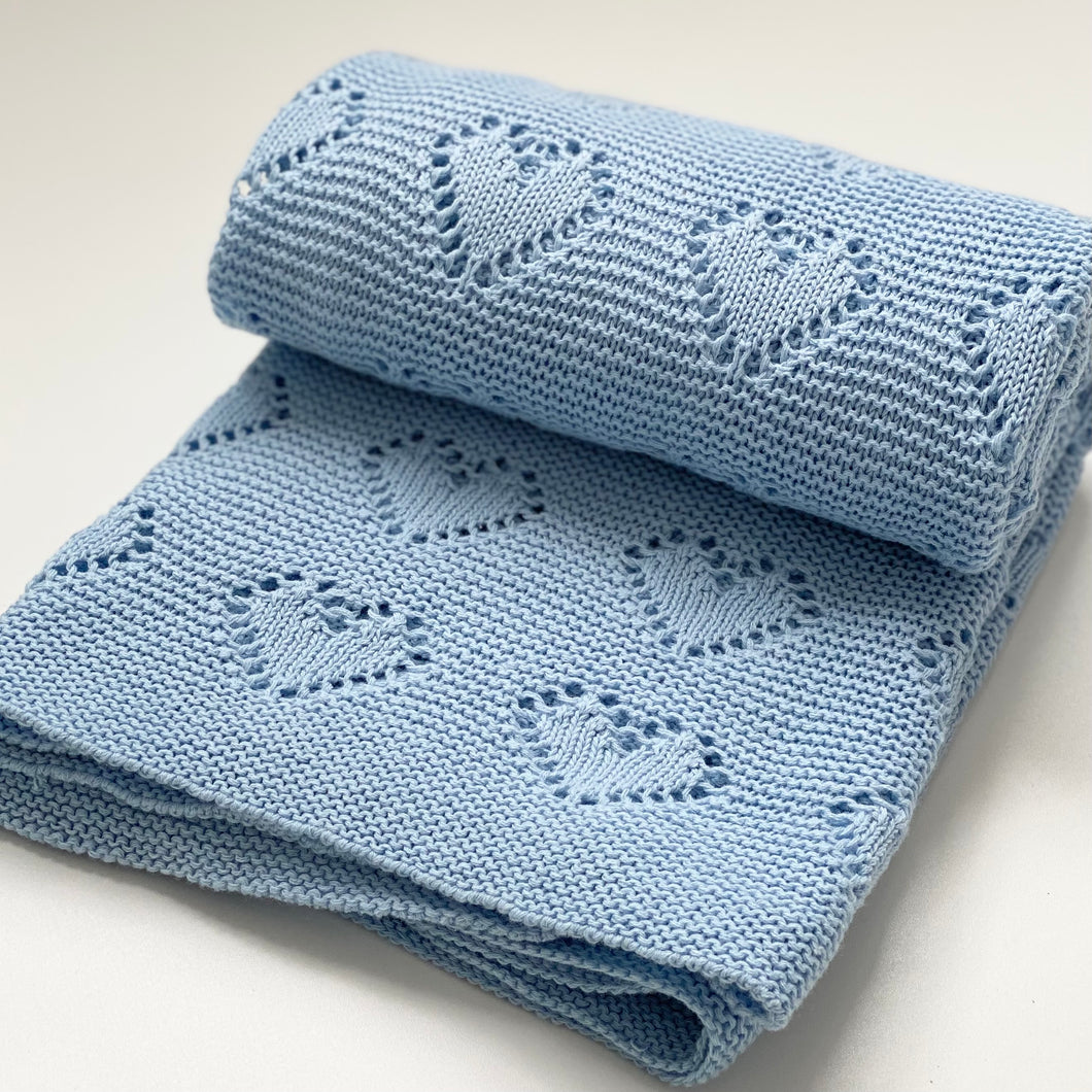 Blue Heart Knit Blanket
