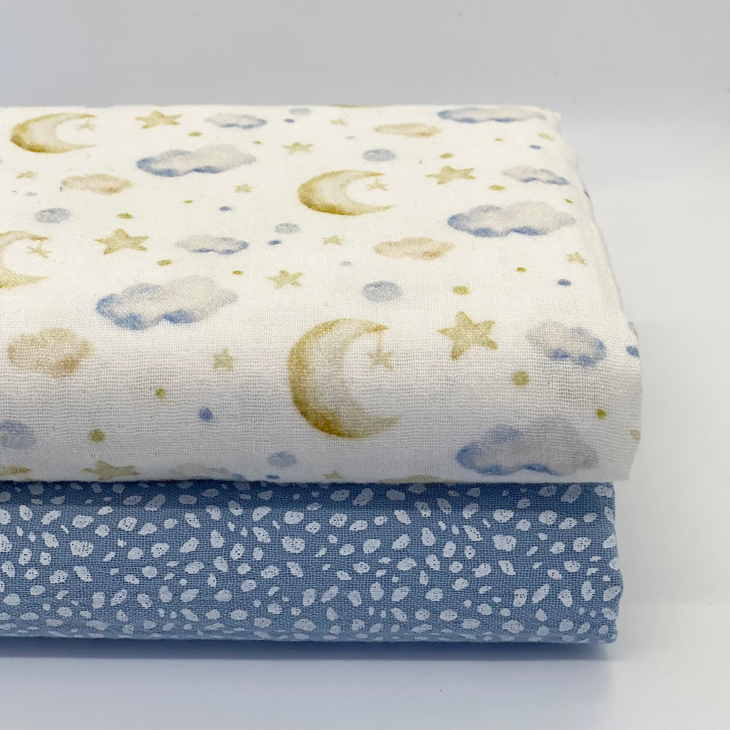 Blue Speckle and Clouds set of 2 muslins