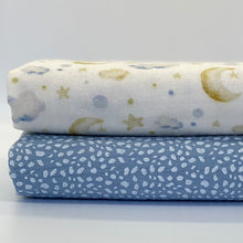Load image into Gallery viewer, Blue Speckle and Clouds set of 2 muslins