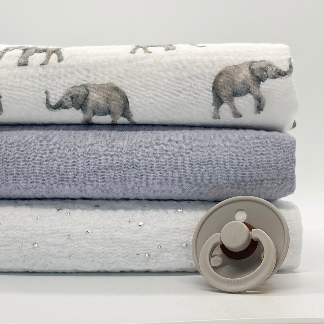 Grey Elephants set of 3 muslins