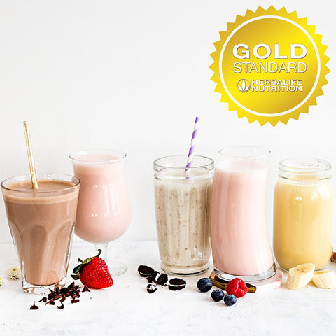 Herbalife Shakes in glasses with logo for the Gold Standard Guarantee