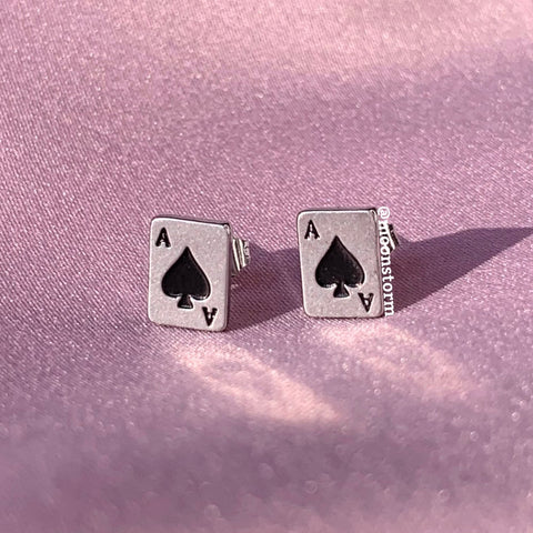 Ace of Spades Card Studs