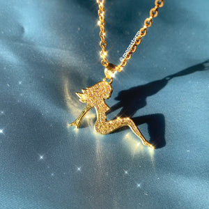 Gold Mudflap Girl Necklace
