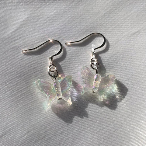 Holographic White Butterfly Earrings