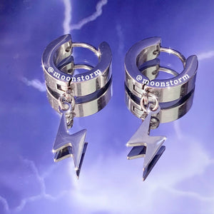 Silver Lightning Bolt Hoop Earrings