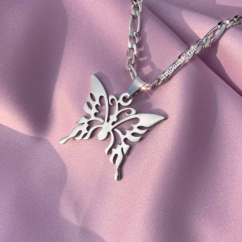 Silver Tribal Butterfly Necklace