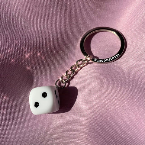 White Dice Keychain