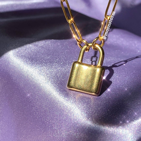 Gold Lock Paperclip Necklace