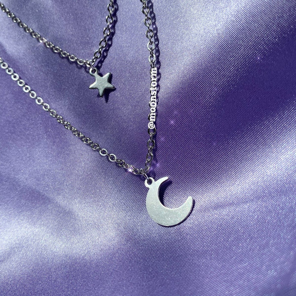 Star & Moon Necklace Set