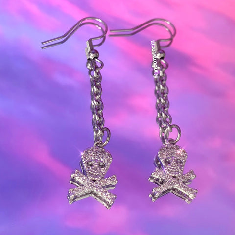 Skull & Crossbones Drop Earrings