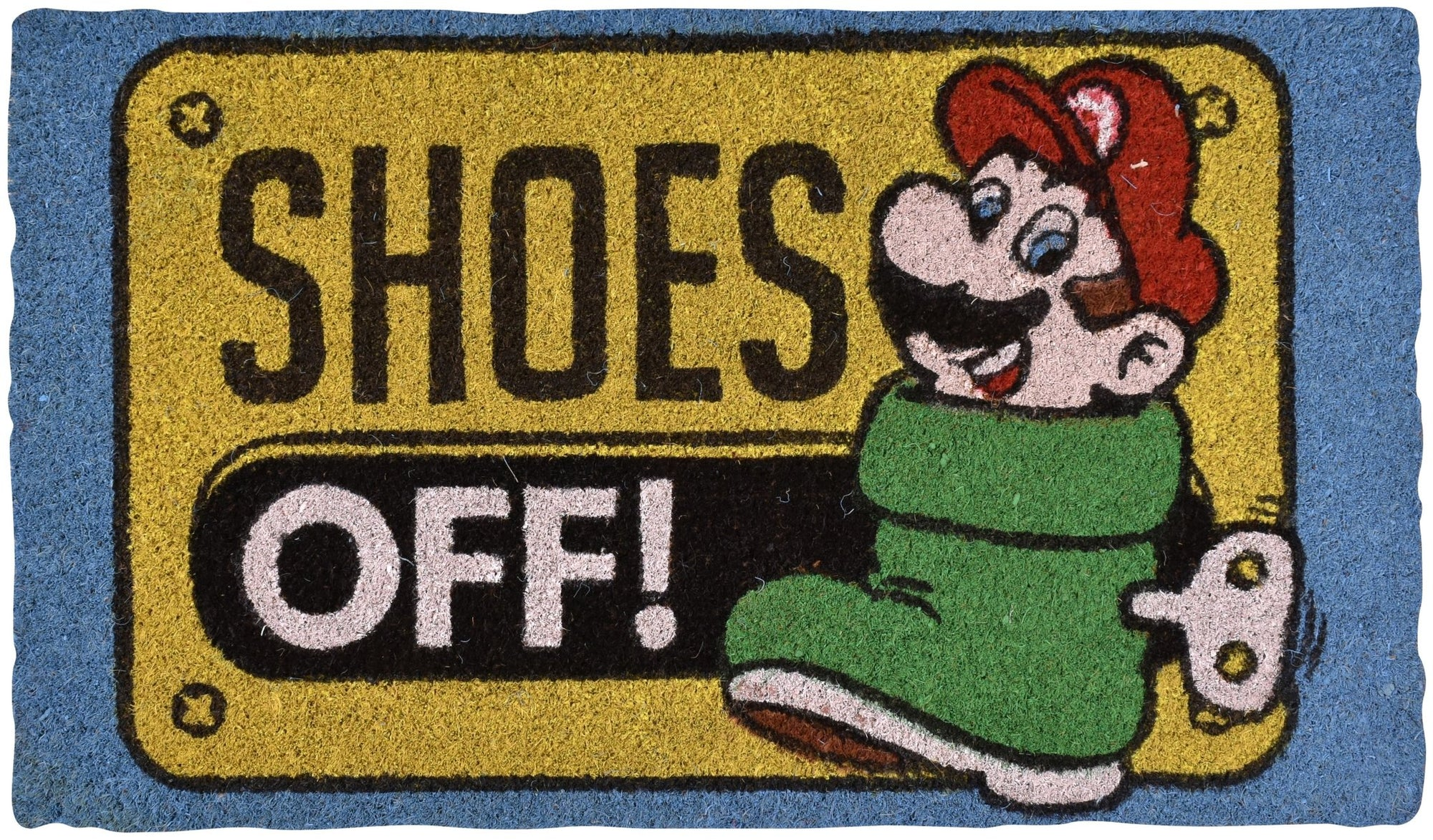 NINTENDO SUPER MARIO SHOES OFF! MULTI-COLOUR DOORMAT - EvoRetro Lets Game