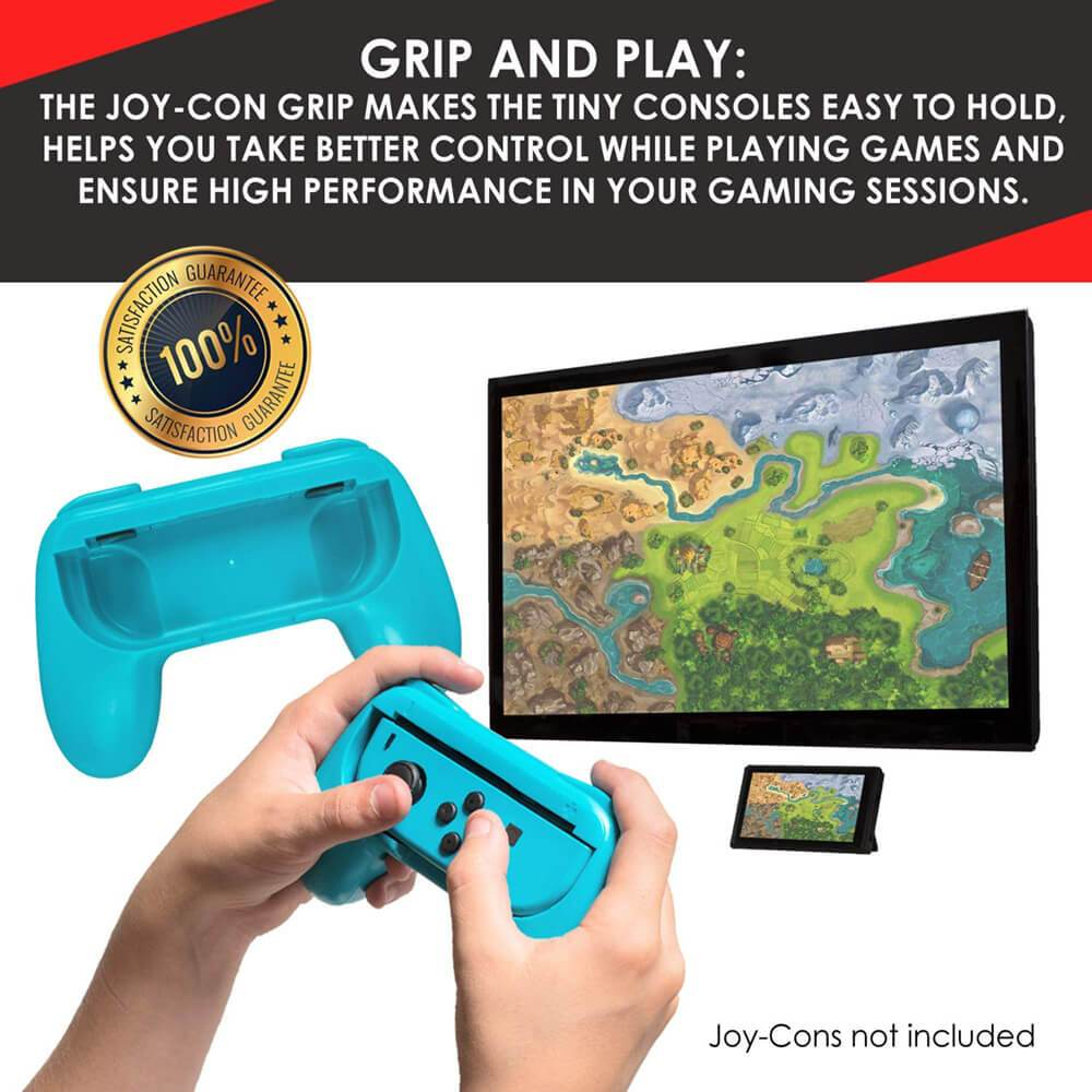 NINTENDO SWITCH JOY-CON CONTROLLER GRIP PACK OF 2 RED & BLUE - EvoRetro Lets Game