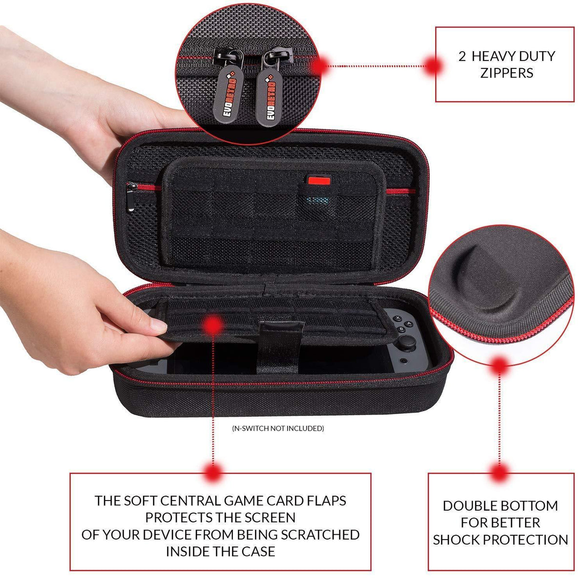 Nintendo Switch travel Case - Heavy duty (Black) - EvoRetro Lets Game