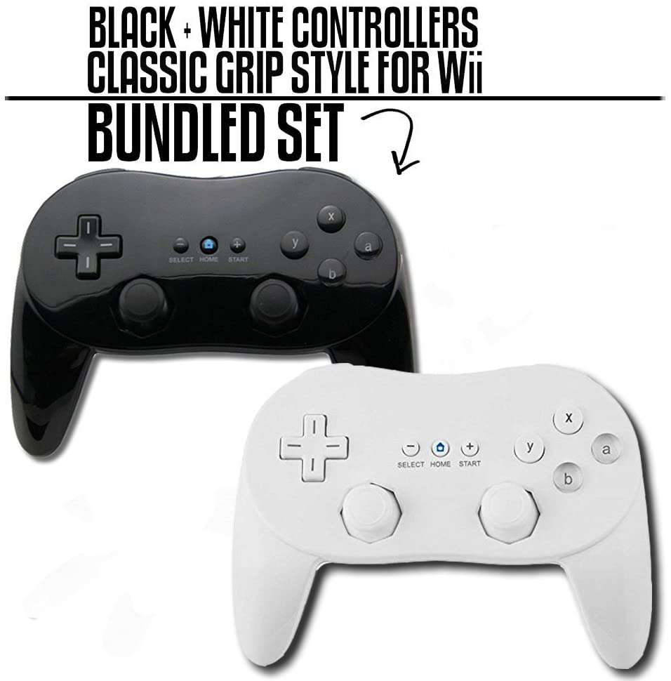 NINTENDO WII CLASSIC BLACK AND WHITE CONTROLLER BUNDLE GAMEPAD - EvoRetro Lets Game