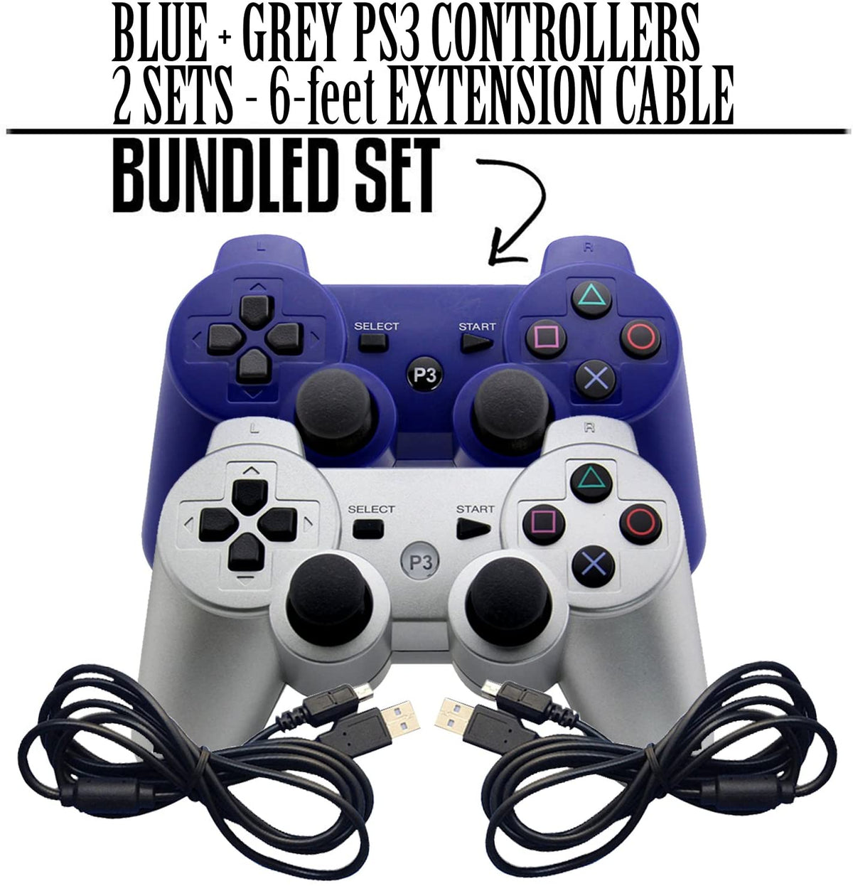 PS3 3 WIRELESS GAMING CONTROLLER & EXTENSION CORD BUNDLE (WHITE AND BLUE) - EvoRetro Lets Game