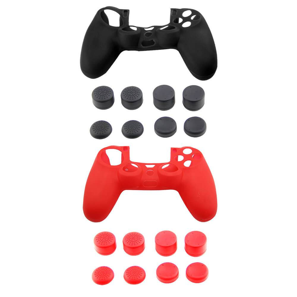 PS4 CONTROLLER COVER JOYSTICK GRIPS ACCESSORIES- 2PCS SILICONE SKIN COVER / 16 PCS THUMBSTICK CAPS (MATTE BLACK AND MATTE RED CAMO) - EvoRetro Lets Game