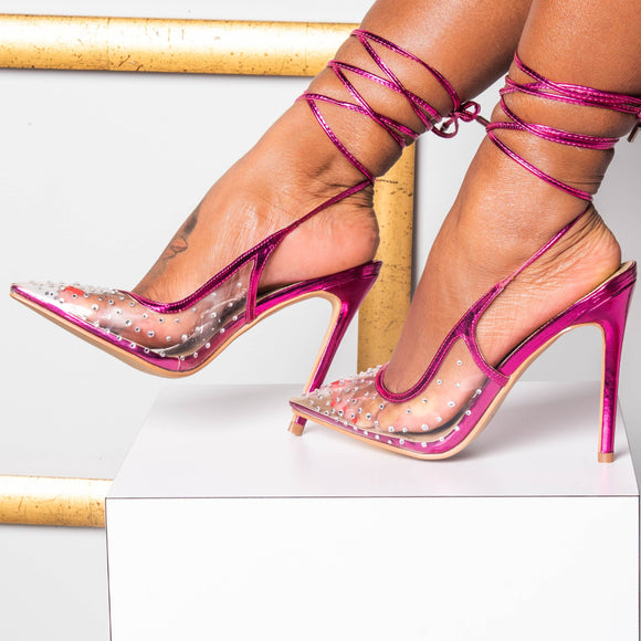 NICKI CLEAR PINK METALLIC PUMP