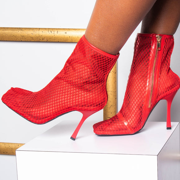 ARIELLE RED MESH BOOTIES