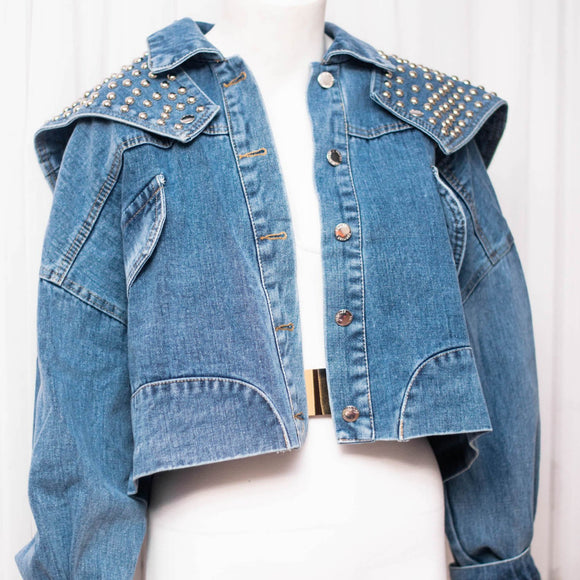 JANET VINTAGE DENIM CROP JACKET