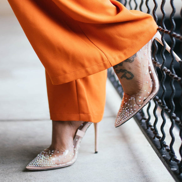 MICHELLE JEWELED CLEAR PUMP
