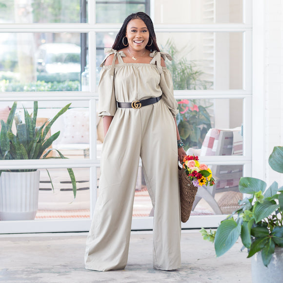 TOYA WIDE LEG OFF THE SHOULDER JUMPSUIT