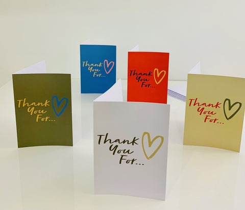 Pack of 5 different coloured Thank You cards from Thank You For
