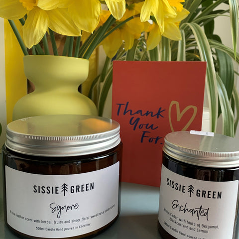 Sissie Green ethical soy wax candles in a range of fab scents with up to 50 hours burn time. Vegan friendly. Toxin free.