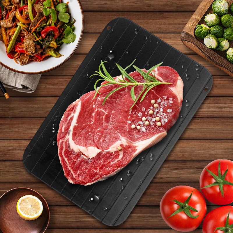 Aluminum Quick Fast Thawing Defrosting Tray Meat Food Defrost Thaw Plate Board
