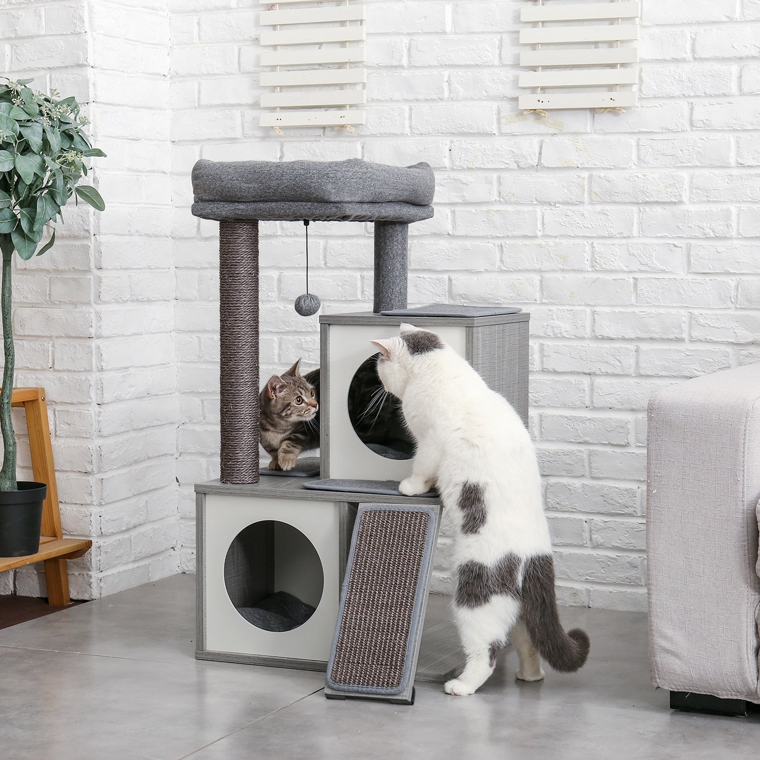 Luxury Modern Cat Tree with Sisal-Covered Scratching Posts | Cat Tower with 2 Spacious Perches and Various Scratching Pads