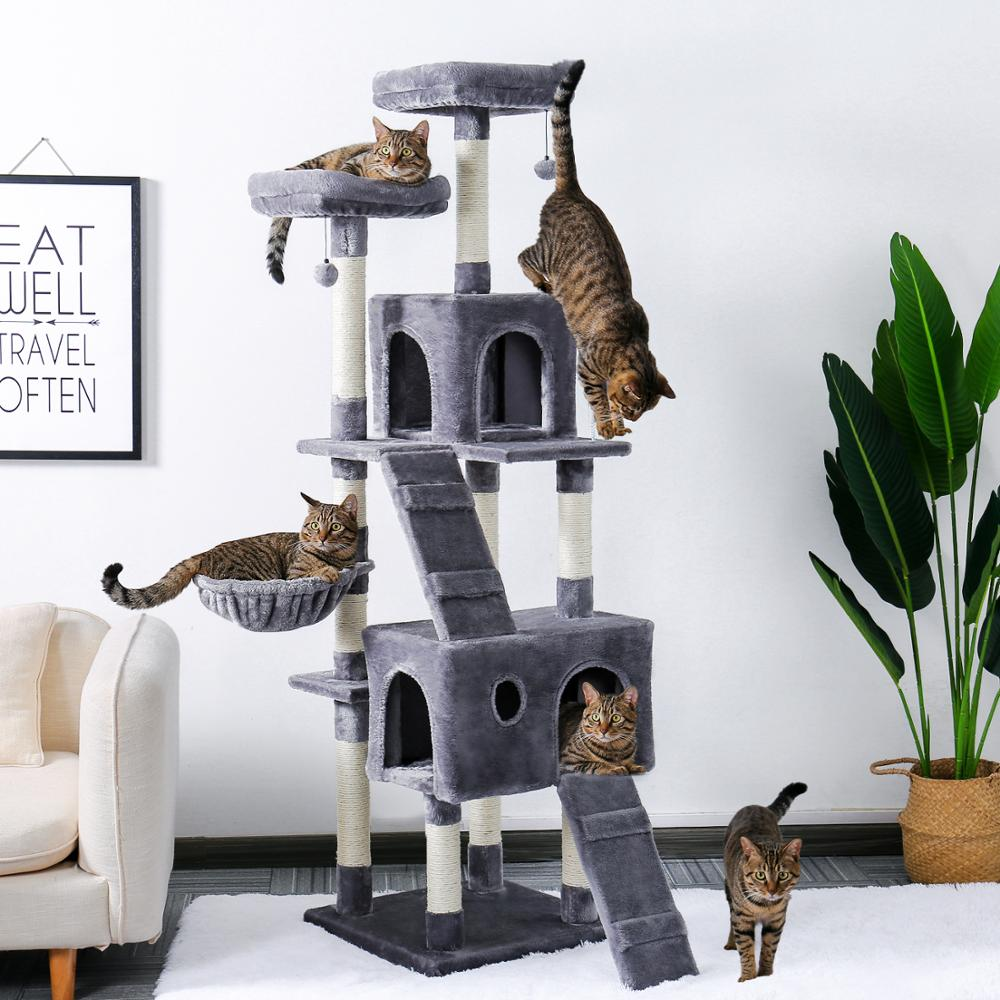 Modern 180CM Multi-Level Cat Tree | Stable Cat Climbing Frame | Cat Scratch Board