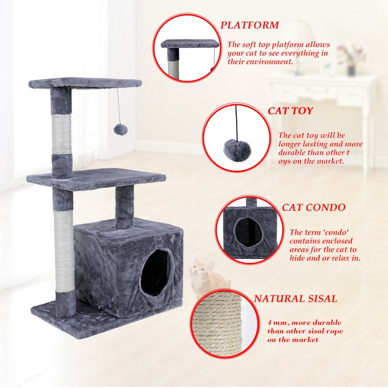 Luxury Cat Tree and Climbing Frame |  Cat Tree Pet House Furniture | Cat Scratching Post | Wood Climbing Tree