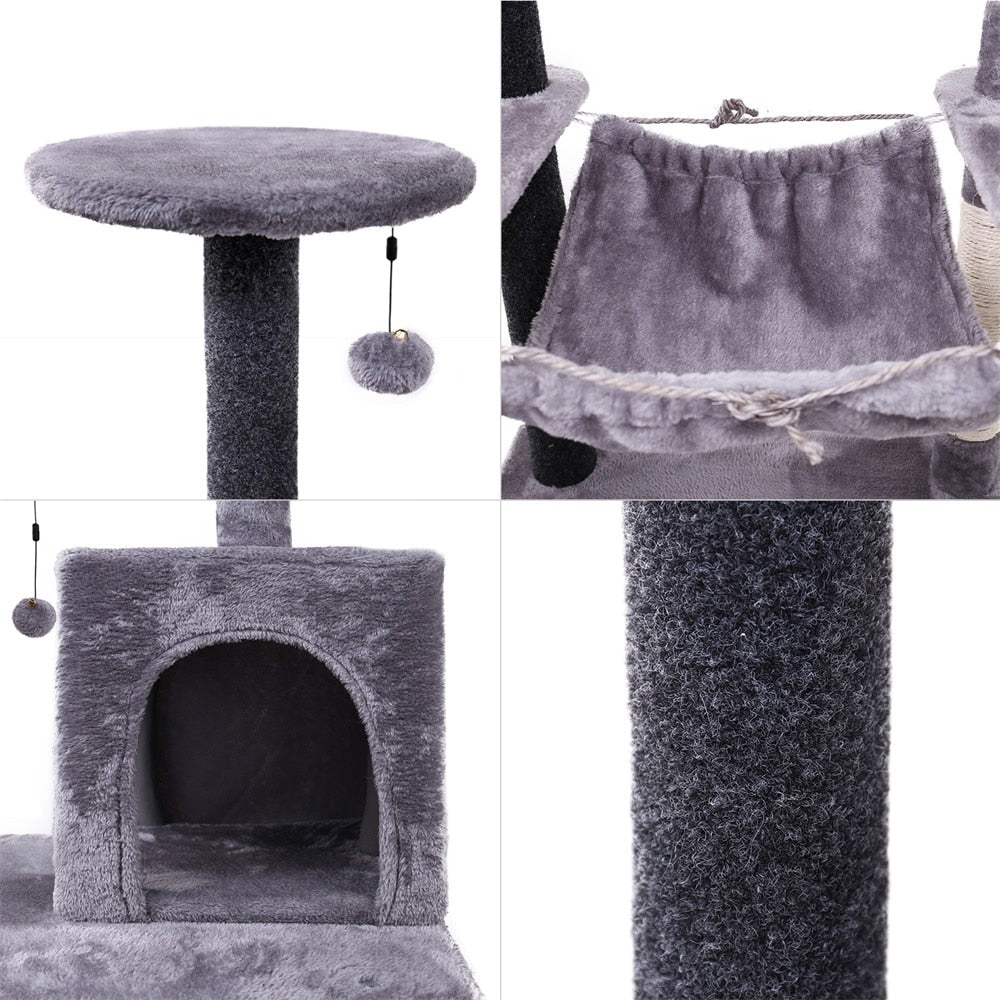Multi-Level Hammock Cat Tree Tower | Condo Cat Scratcher | Cat Home Furniture