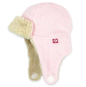 Furry Fleece Trapper Hat in Baby Pink