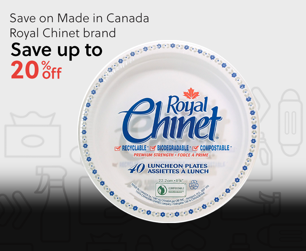 Save up to 20% on Made in Canada Royal Chinet brand