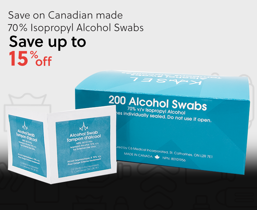 Save up to 15% on Canadian made 70% Isopropyl Alcohol Swabs