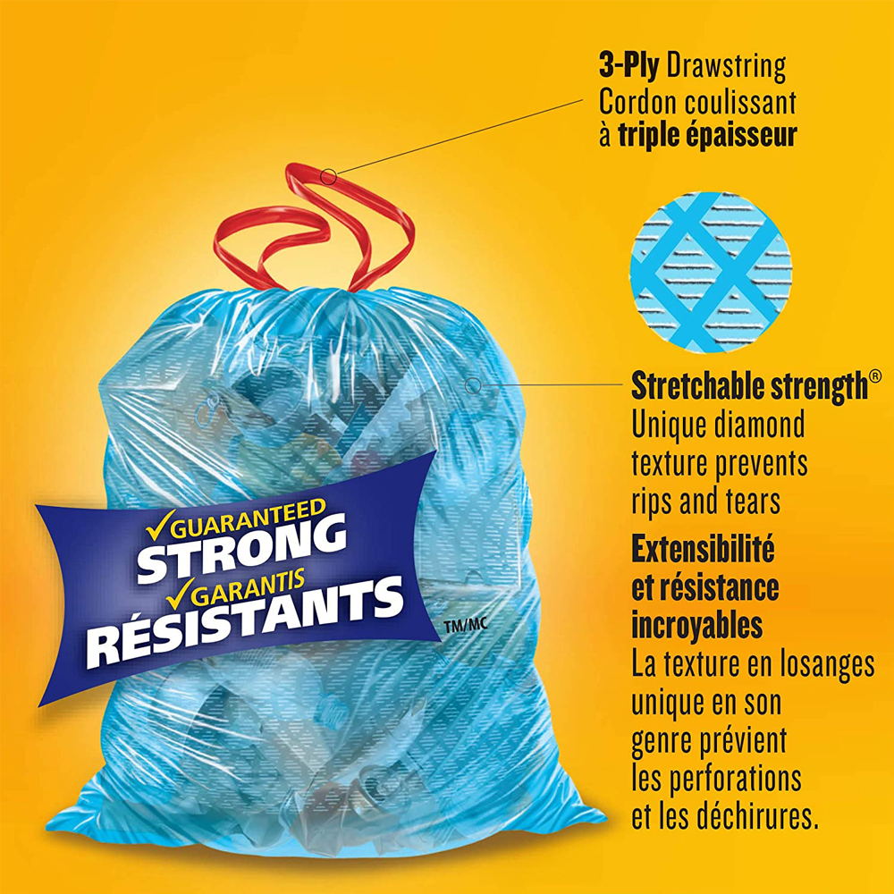 Glad Blue Recycling Bags | Large 90 L | Easy-Tie Handles | 30 Trash Bags