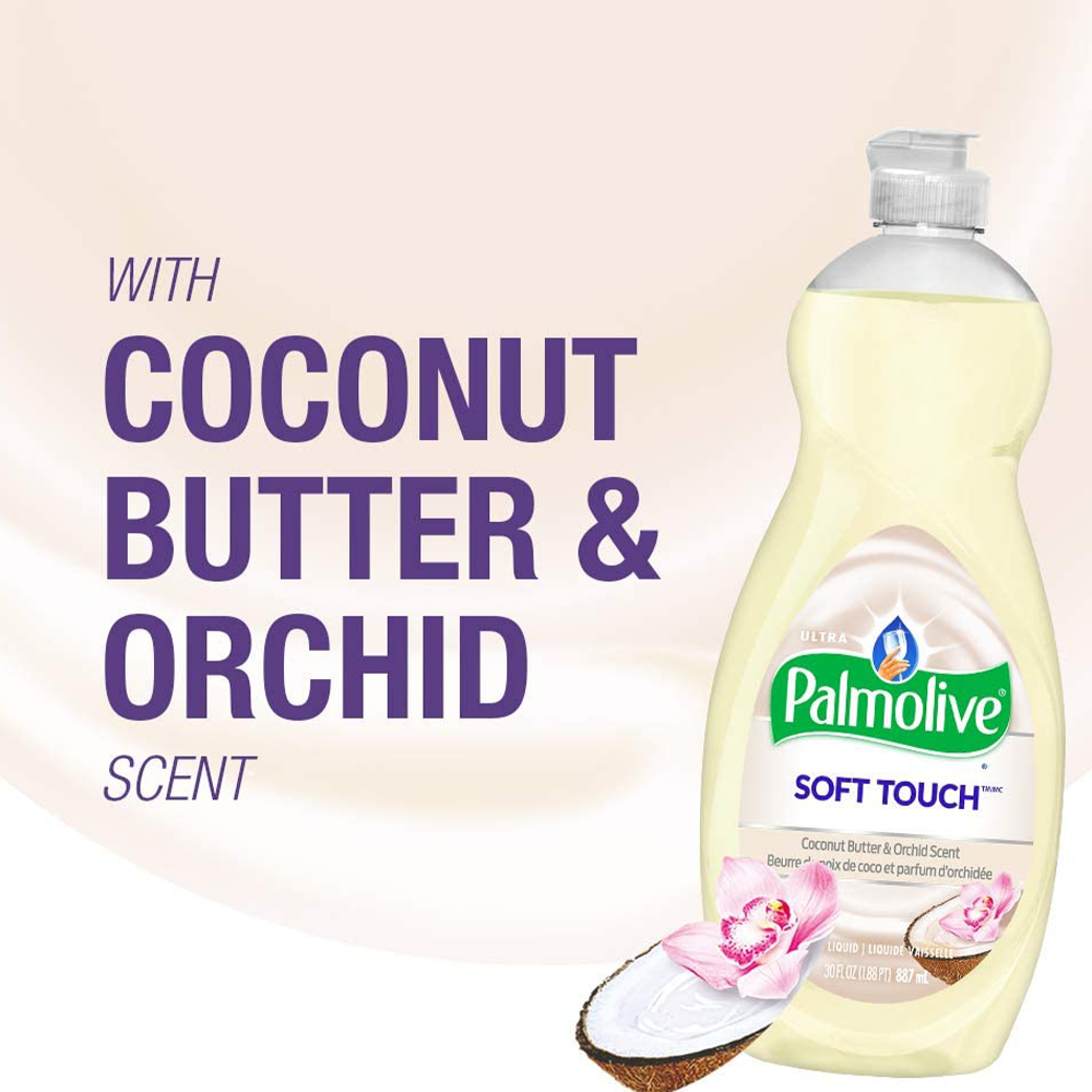 Palmolive Soft Touch Ultra Concentrated Dish Soap | Coconut Butter & Orchid |  887 ml