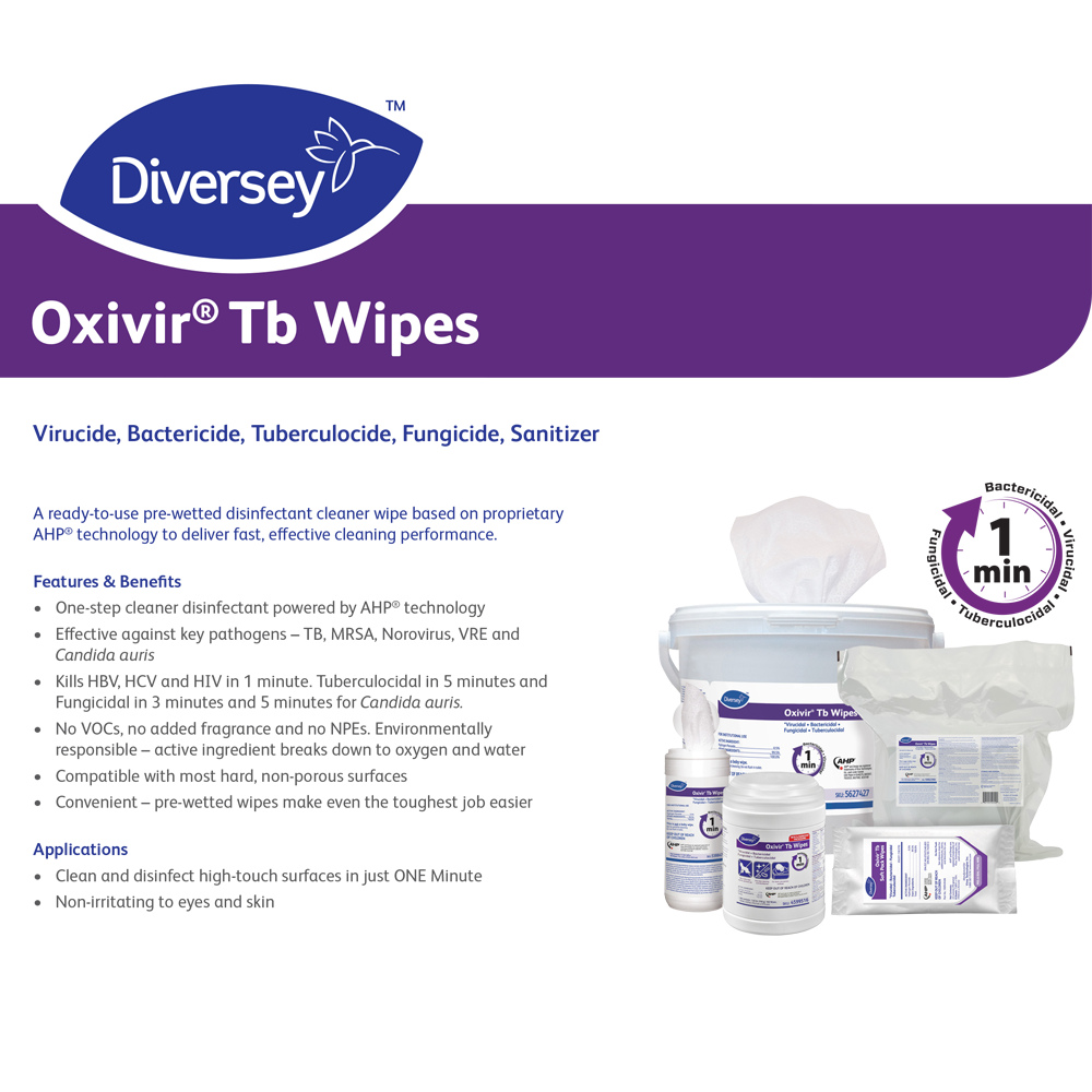 Oxivir TB Disinfectant Wipes | 60 Wipes