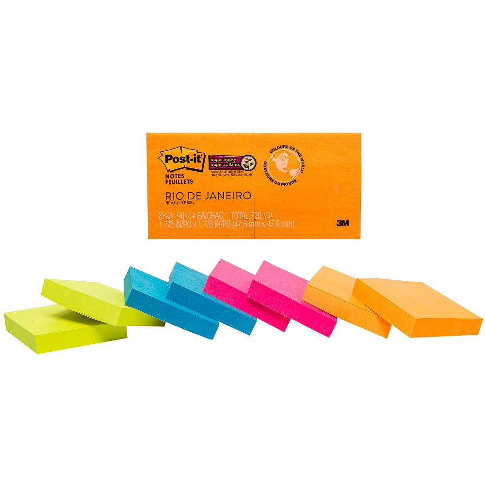 "Post-it Super Sticky Notes in Rio de Janeiro Colour Collection | Unlined | 1 7/8"" x 1 7/8"""