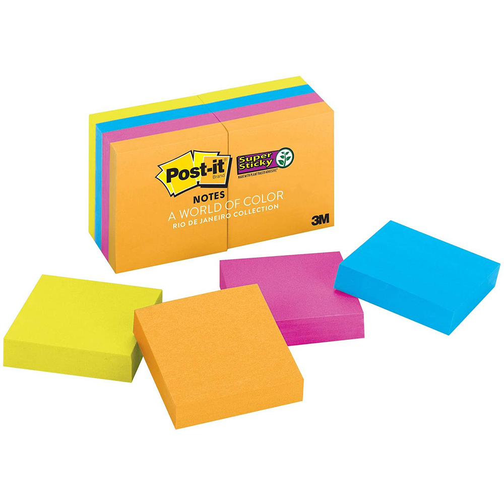"Post-it Super Sticky Notes in Rio de Janeiro Colour Collection | Unlined | 1 7/8"" x 1 7/8"" 