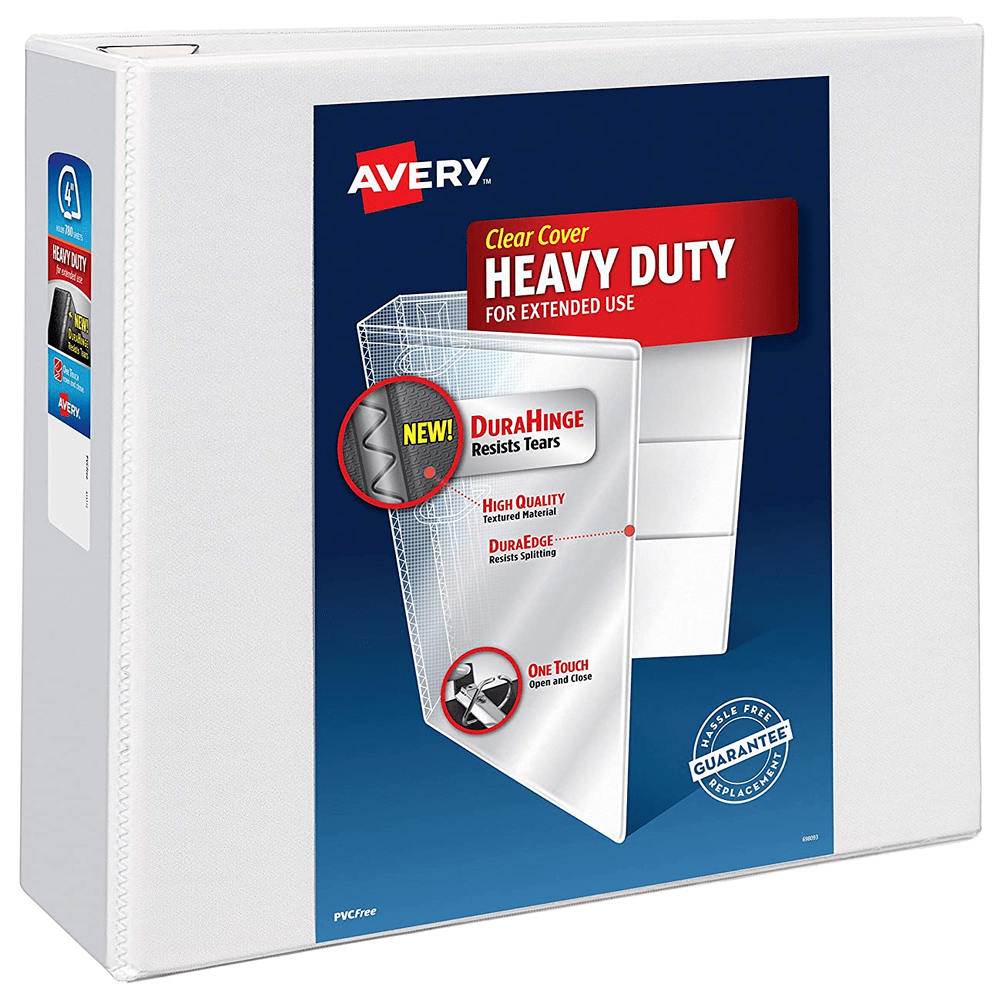 "Avery Heavy-Duty View 3 Ring Binder | 4"" One Touch Slant Rings 