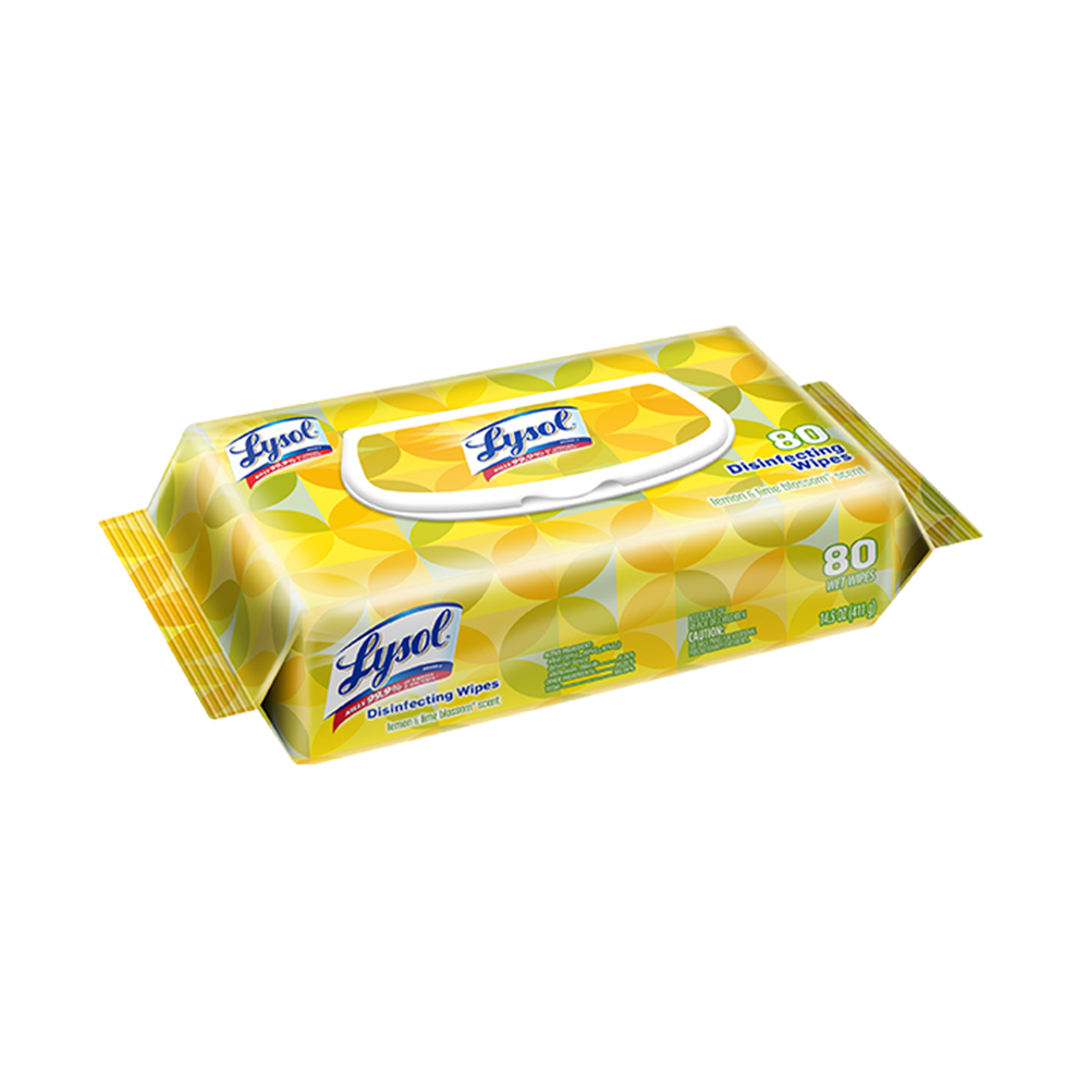 Lysol Disinfecting Wipe | 80 Wipes per Flatpack | Lemon & Lime Blossom Scent